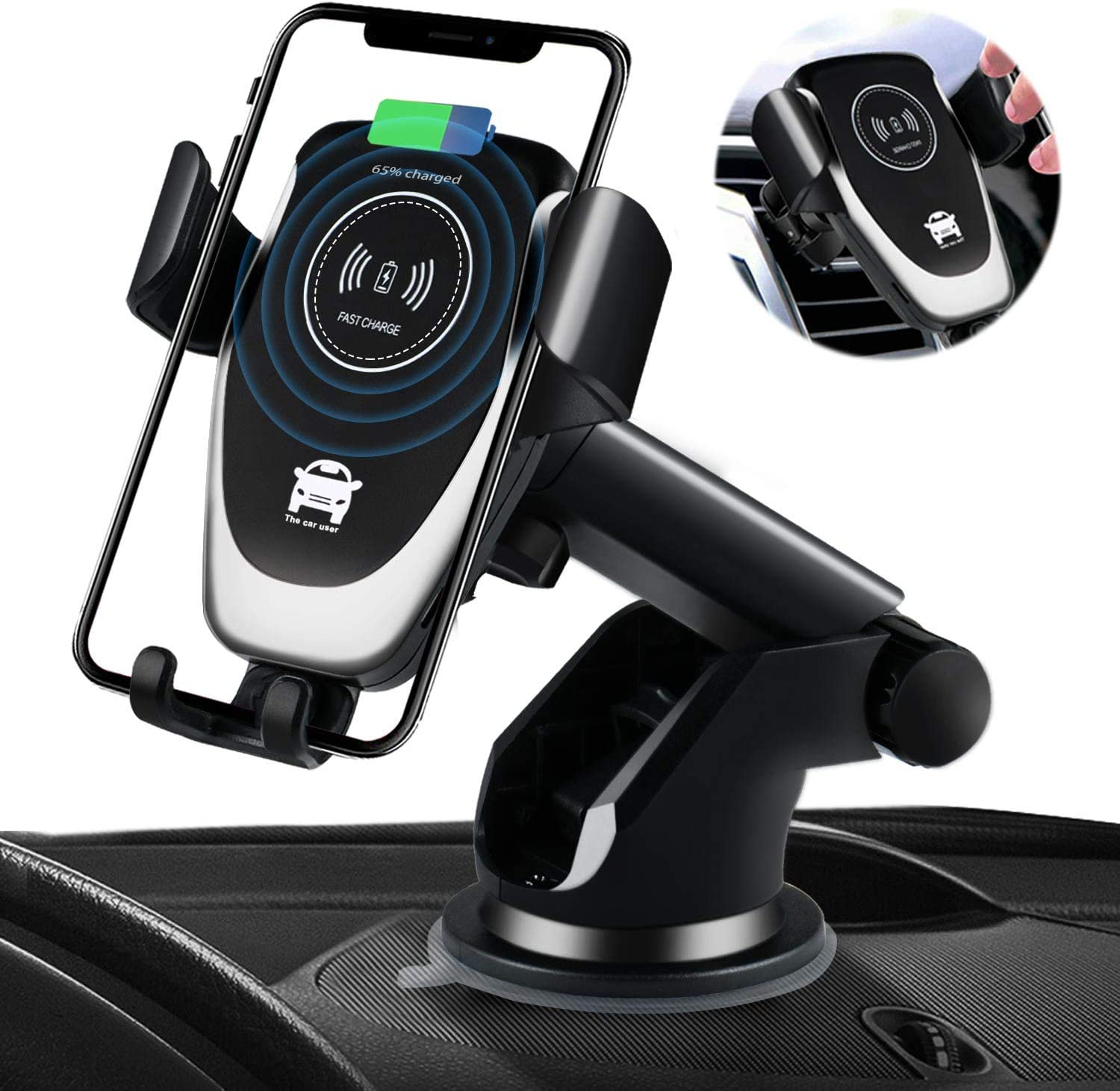 Samsung Galaxy S10 //S10+//S9 //S9+//S8 SANCEON Qi Wireless Car Charger Mount 10W Fast Charging Car Phone Holder Air Vent Dashboard Compatible with iPhone 11//11 Pro//11 Pro Max//Xs//Xs Max//XR//X// 8//8 Plus