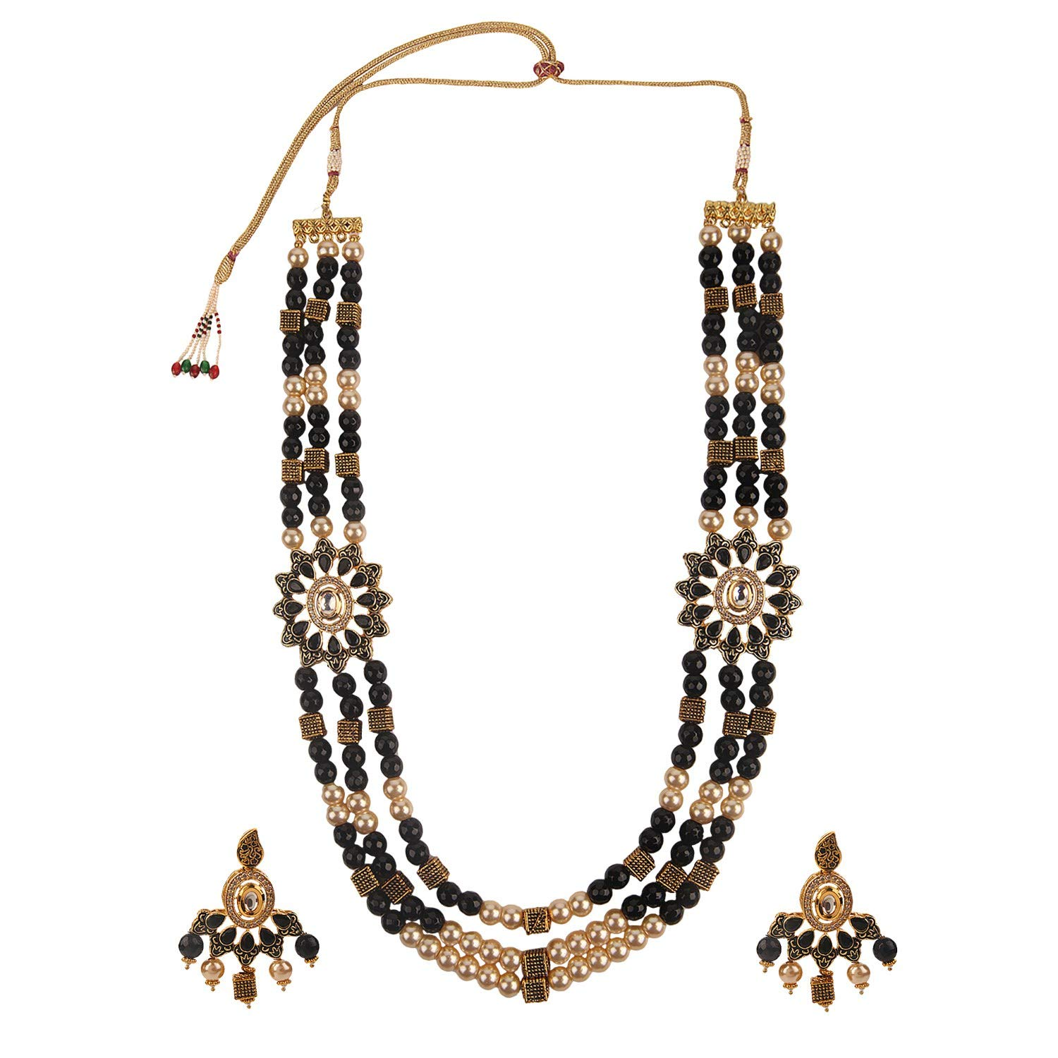 Efulgenz Indian Bollywood Multi Layered Faux Ruby Kundan Black Pearl Beads Bridal Wedding Floral Necklace Earrings Jewelry Set for Women