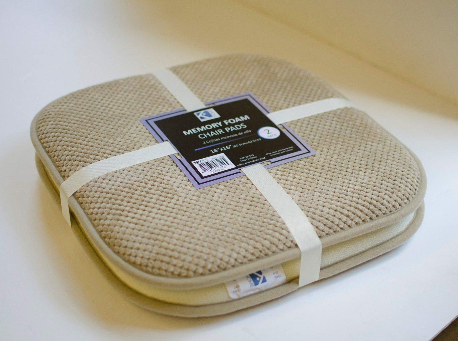 EKO_LSO 2 Pack Indoor/Patio Dining Chair Memory Foam Cushion Seat Pad, Non-Slip Back (Beige)