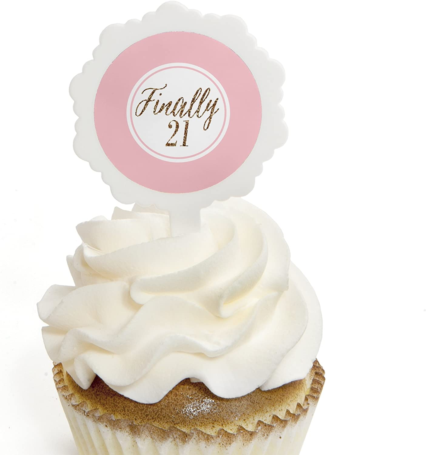 12 X Rose Gold Happy 21st Cupcake Toppers Happy Birthday Cupcake Toppers