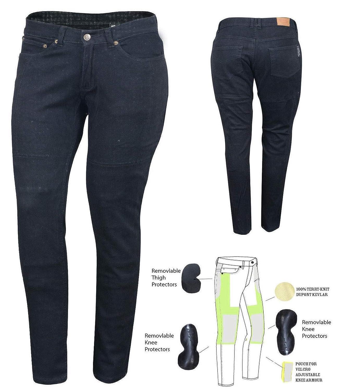 Bikers Gear Australia EU 40R Jeans de Moto pour Femmes CE Genou Armure KEVLAR Stretch Denim Noir UK 12R, M