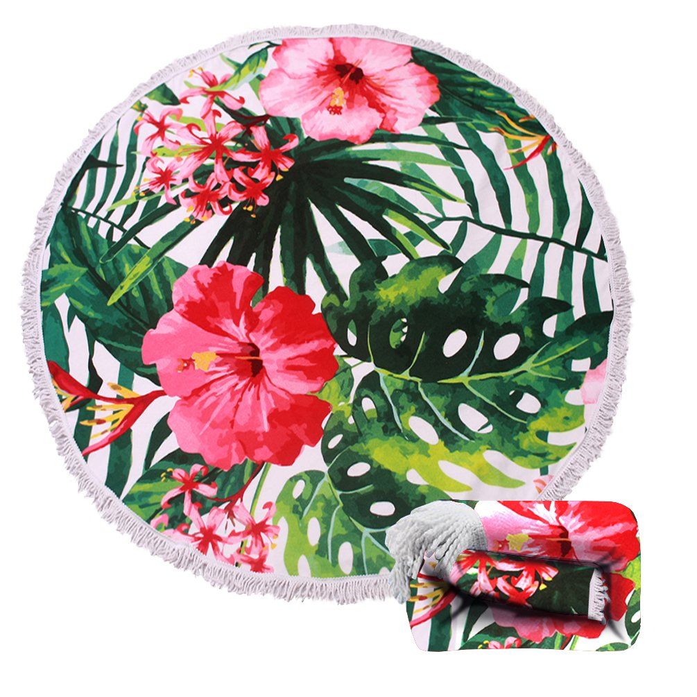 Genovega (22 Options) Thick Round Beach Towel Blanket – Hawaii Hawaiian Tropical Palm Circular Large Microfiber Terry Beach Roundie Circle Picnic Carpet Yoga Mat with Fringe for Women 2