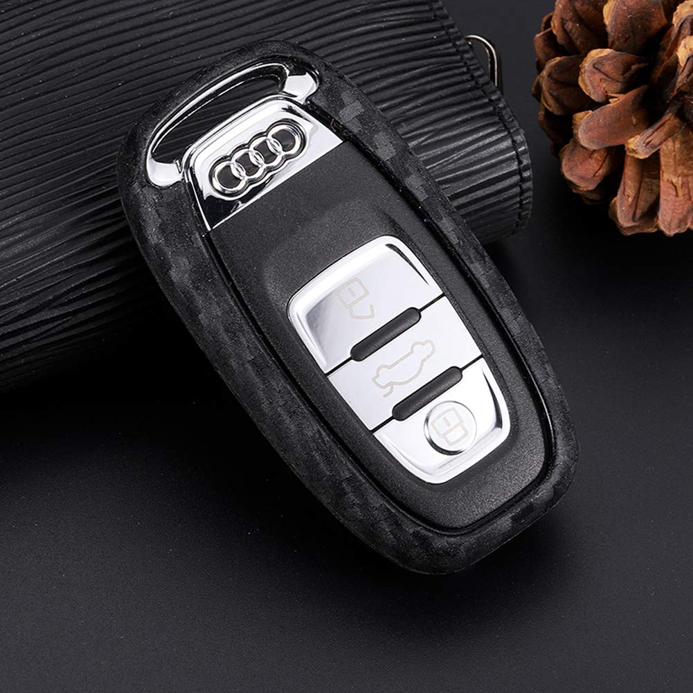 TurningMax Keyless Entry Remote Case Key Fob Cover Carbon Fiber Looks Style Soft Silicone Holder Shell with Key Chain for Audi A4L A5 A6L A7 A8 S5 S6 S7 S8 RS5 RS7 Q5 SQ5 Smart Remote Key