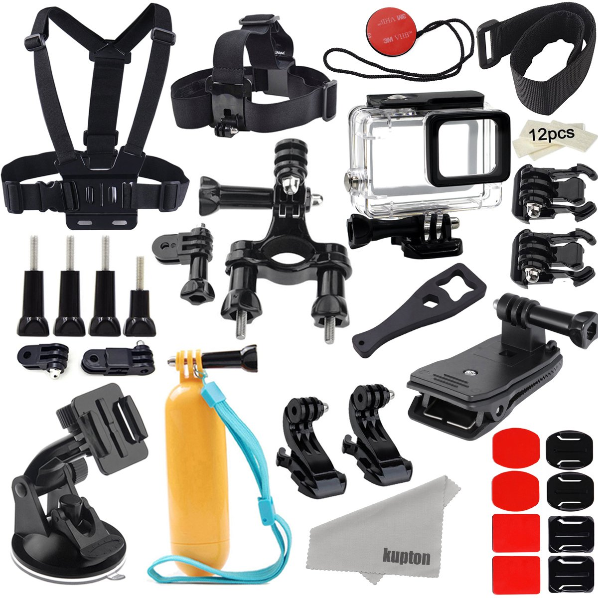 Kupton Accessories for GoPro Hero 7 Black/Hero 6/ Hero 5/ Hero 2018 Action Camera Include Waterproof Housing Case Chest Head Strap Bike Car Mount Floating Grip Bundle Set Kit for Go Pro Hero 7 6 5 by Kupton