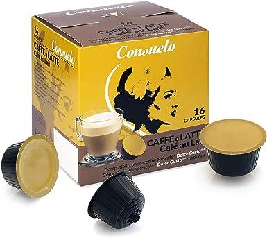 Consuelo - Cápsulas compatibles con cafetera Dolce Gusto*: café con leche, 96 unidades (16 x 6): Amazon.es: Alimentación y bebidas