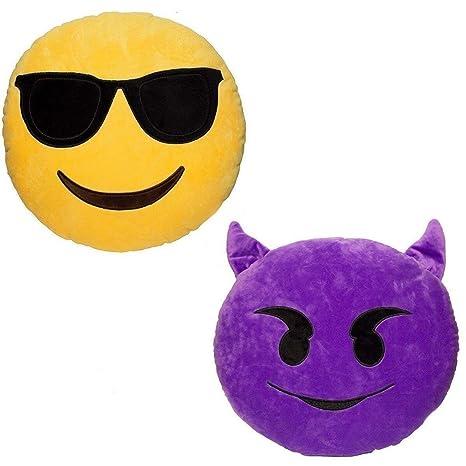 JZK 2 x Cojín Emoji Diablo + cojín Emoji Gafas de Sol Sonriente, Almohada Emoji Emoticon Relleno Suave Juguete de Peluche