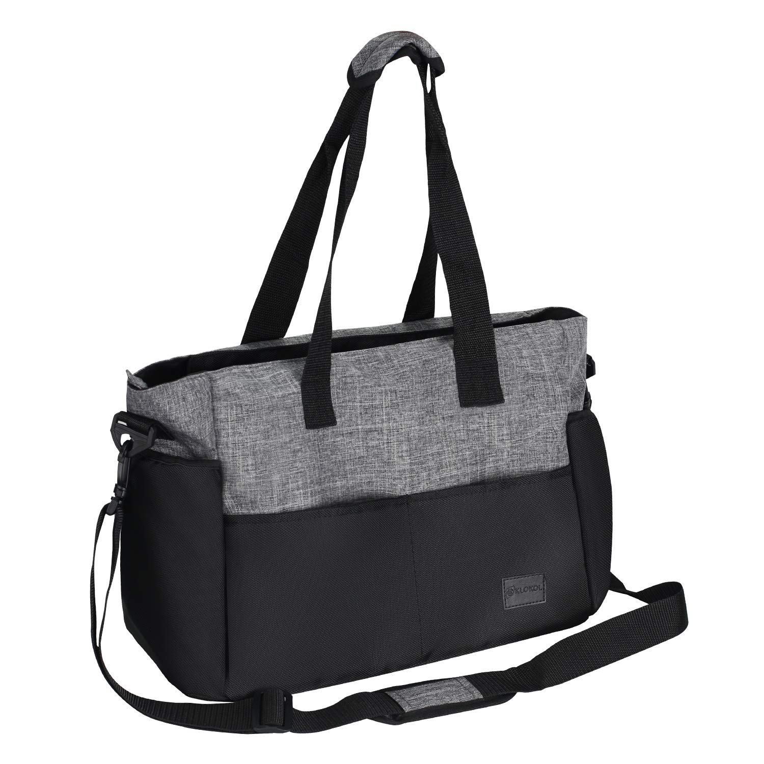 Diaper Bag, Redan Large Baby Bags Tote Organizer Insert Travel Nappy Bags Style with Shoulder Strap and 10 Pockets for Mom, Dad, Boys and Girls, Stroller (Grey Black) by Redan