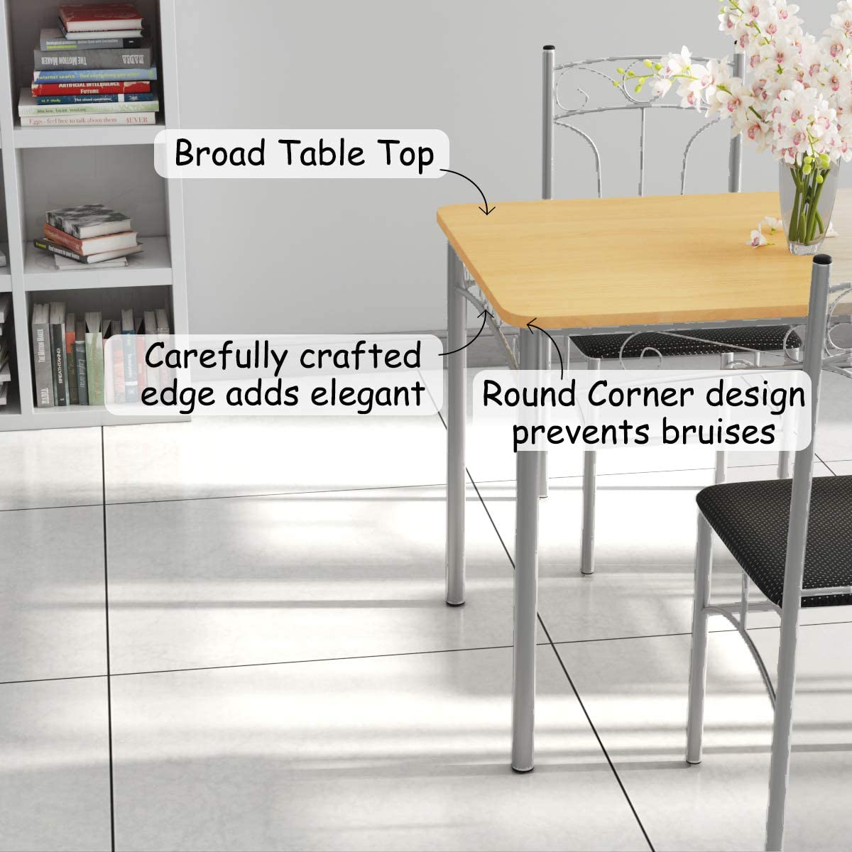 Giantex 5PCS Dining Room Table Set with 4 Chairs Metal Frame Wood Style Tabletop Comfortable Cushioned Seat Home Kitchen Furniture Tables Chairs Set