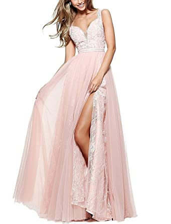 Prom Dresses V-Neck Tulle Lace Satin 3 Layer High Slit Long 2018 Wedding Party Gown Backless A-Line Dress For Women at Amazon Womens Clothing store: