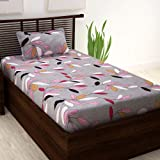 Story at Home 208 TC 100 % Cotton Single Bedsheet with 1 Pillow Cover, Grey/Peach, 145 cm X 225 cm