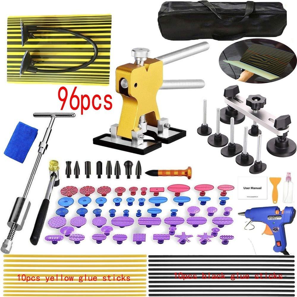 Car Charger Plug Paintless Dent Repair Tool Dent Removal Tool Kit Professional Hail Dent Lifter Bridge Puller T Puller Hot Glue Tap Down Kits (96pcs(EU Plug)) by LGY