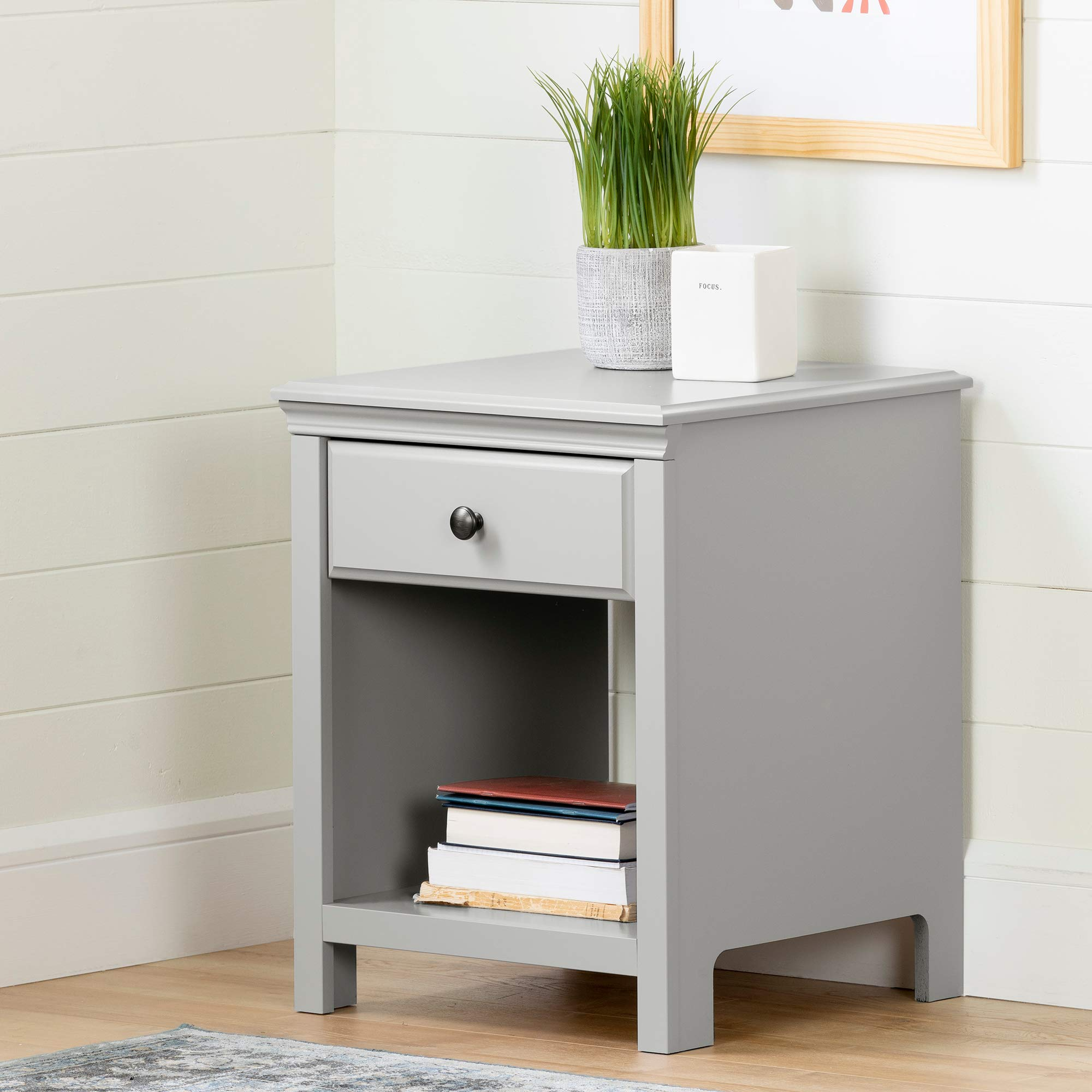South Shore 12139 Cotton Candy 1-Drawer Nightstand, Soft Gray by South Shore