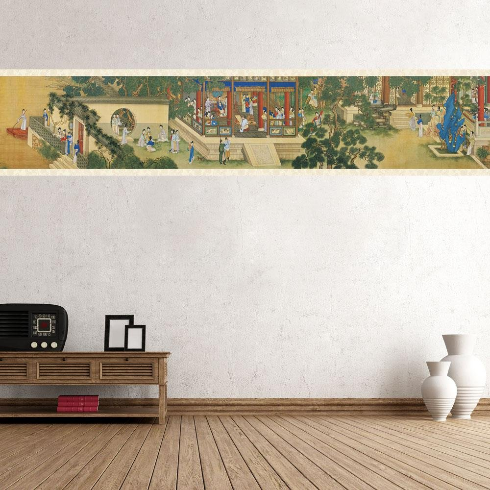 Aolvo Chinoiserie Wallpaper Border Chinese Classic Wall Drawing