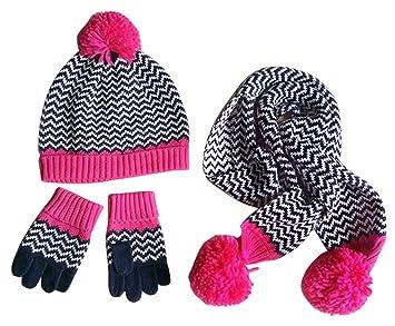 Happy Cherry Lot de 3 PCS Chapeau Bonnet Tricot + Echarpe + Gants Tricot  Enfant Bébé 3f077e2ef94