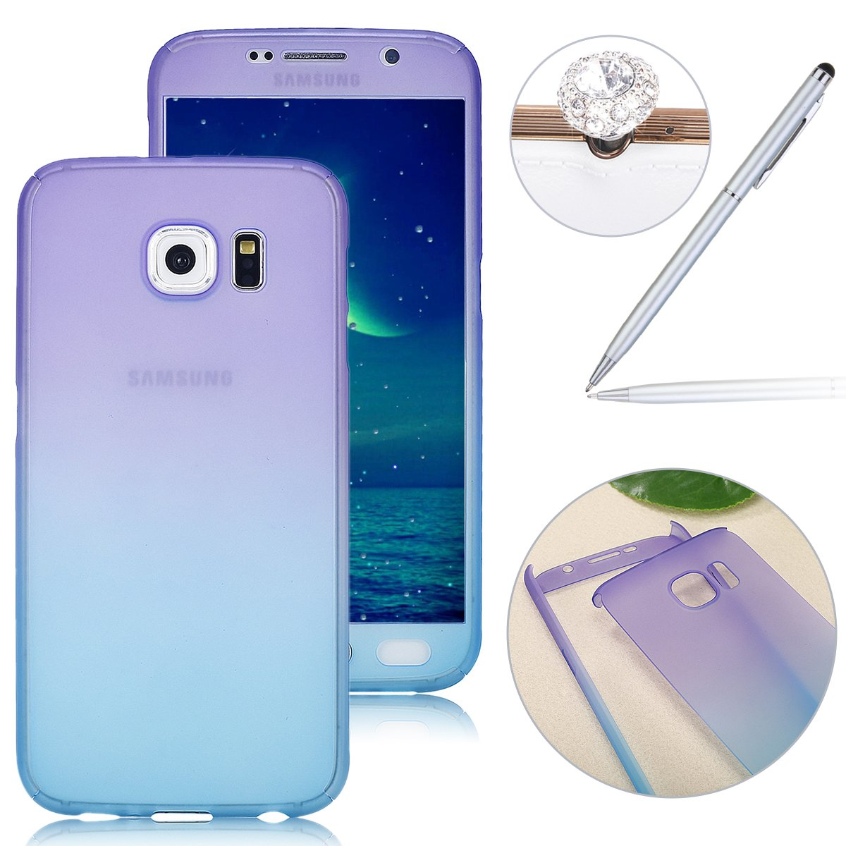 Galaxy S6 Case-Felfy 360 Degree Protective Cover Case for Galaxy S6, Galaxy S6 2 in 1 PC Tempered Film Full Body Rubber Case with Gradient Color Transparent Gel Glitter Front and Back Protection Shockproof Hard Case for Samsung Galaxy S6 + 1 Stylus Pen + 1