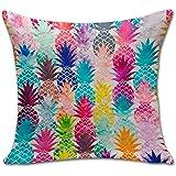 Pineapple Throw Pillow Cover Sham Office Chair Seat Back Cushion Slipover ChezMax Cotton Linen Pillowslip Square Pillowcase For Unisex Women Men