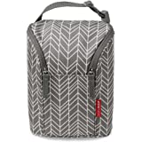 Skip Hop Insulated Breastmilk Cooler And Baby Bottle Bag, Grab & Go Double, Grey Feather