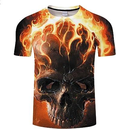 Camiseta Hombre Fuego y cráneo Camiseta Hip Hop Camiseta 3D Estampado de Camisetas Ropa para Hombre Fresca Verano Casual Tops Streetwear -XL: Amazon.es: Ropa y accesorios