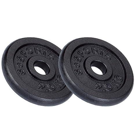 ScSPORTS - Juego de pesas (10 kg, 1 barra corta, 2 pesas de 2,5 kg, 2 de 1,25 kg, hierro fundido): Amazon.es: Deportes y aire libre
