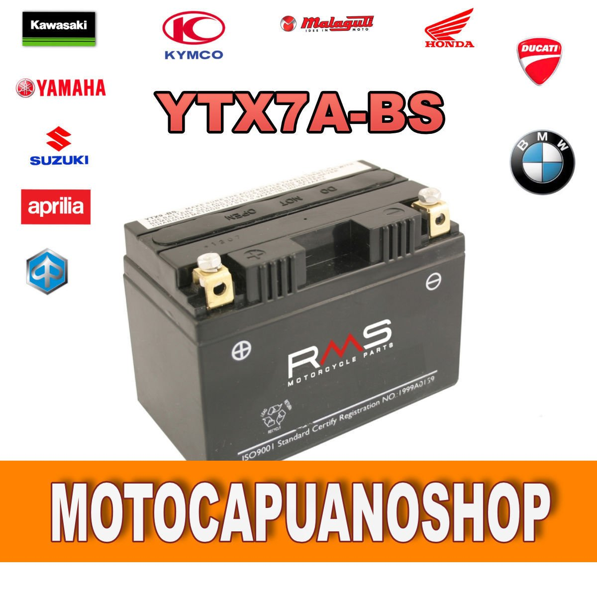 BATTERIA RMS YUASA YTX7A-BS Kymco Agility RS Naked - 50 cc - anni 2010 MotoCapuano 151600268624