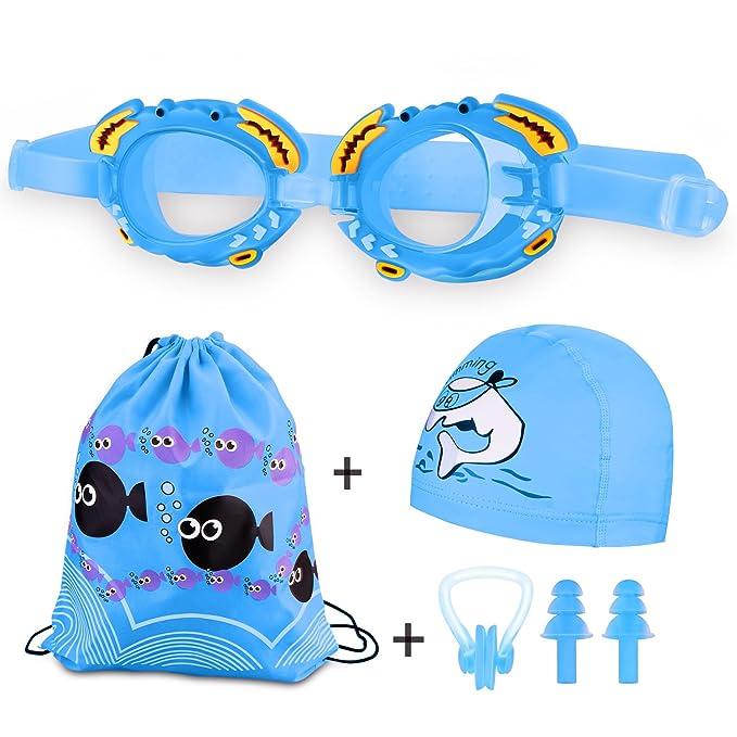 Weibest Gorro de baño y gafas de natación para niños, gafas de natación impermeables y antivaho para niños, niños y niñas Gorro de natación impermeable de ...