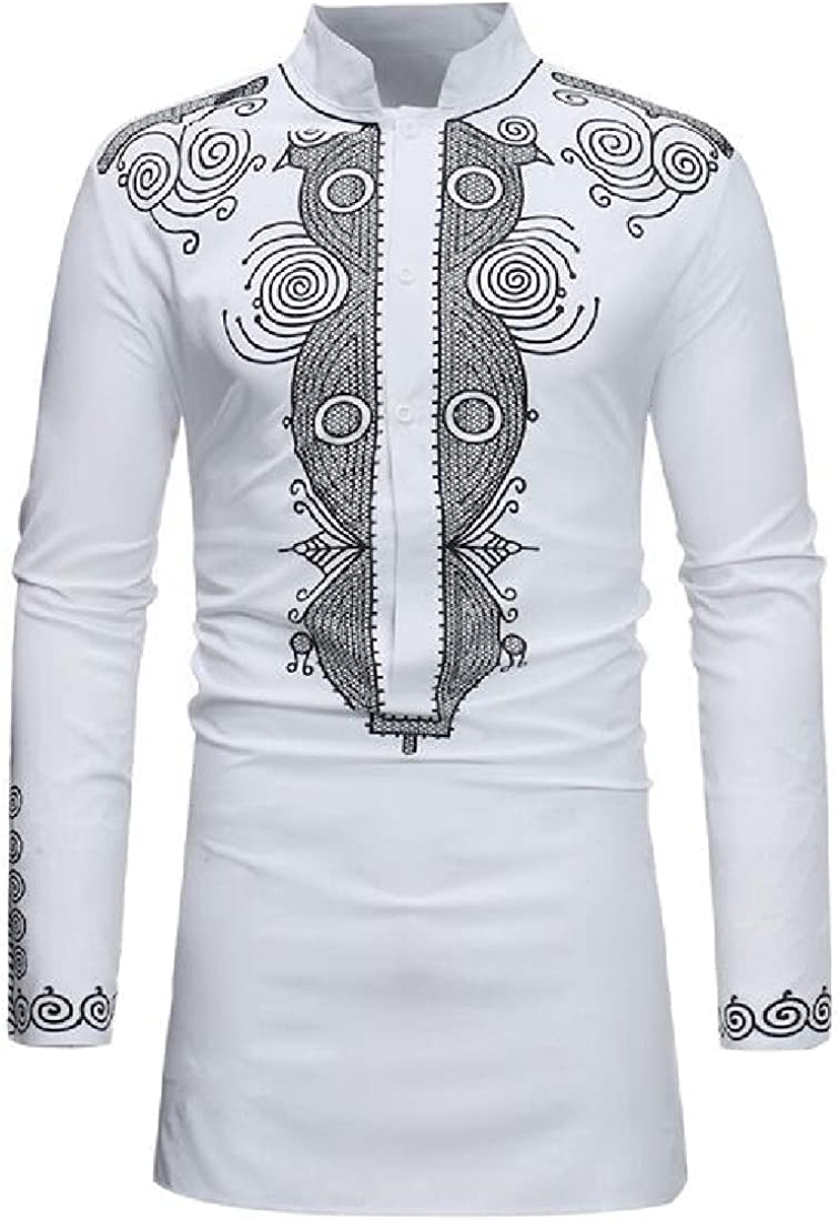 LianXiYou Men Long Sleeve Banded Collar Floral Print Fitted Mid Long Shirt