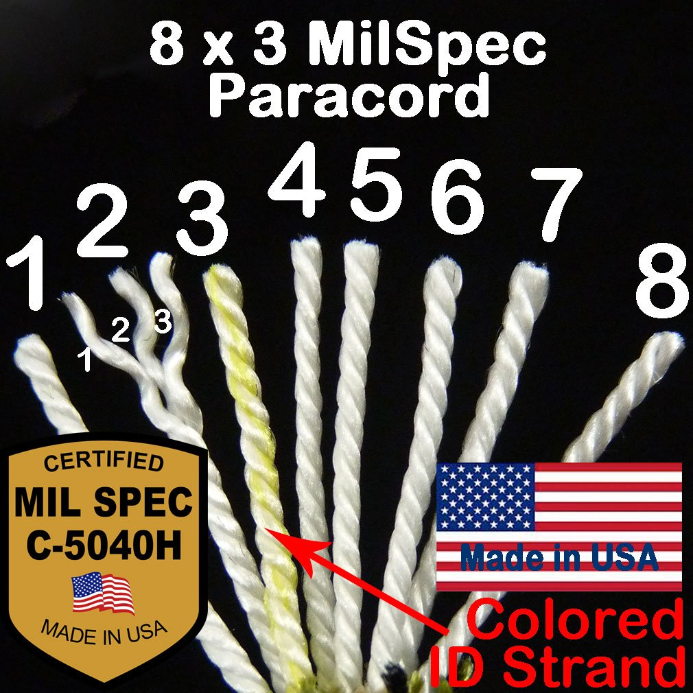 MilSpec Paracord Red 8-Strand 55 ft. Hank. Guaranteed MIL-C-5040H Compliant, Military Survival 550 Parachute Cord, Type III. Made in USA. 100% Nylon, 600 Lb. Break Strength, 2 Free eBooks. by Paracord 550 Mil-Spec (TM) (Image #3)