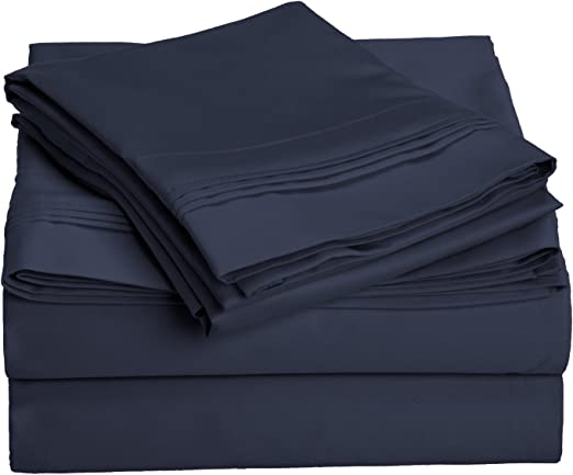 100/%EGYPTIAN COTTON 1000TC NAVY BLUE SOLID COLOR SHEET//DUVET//FITTED QUEEN SIZE