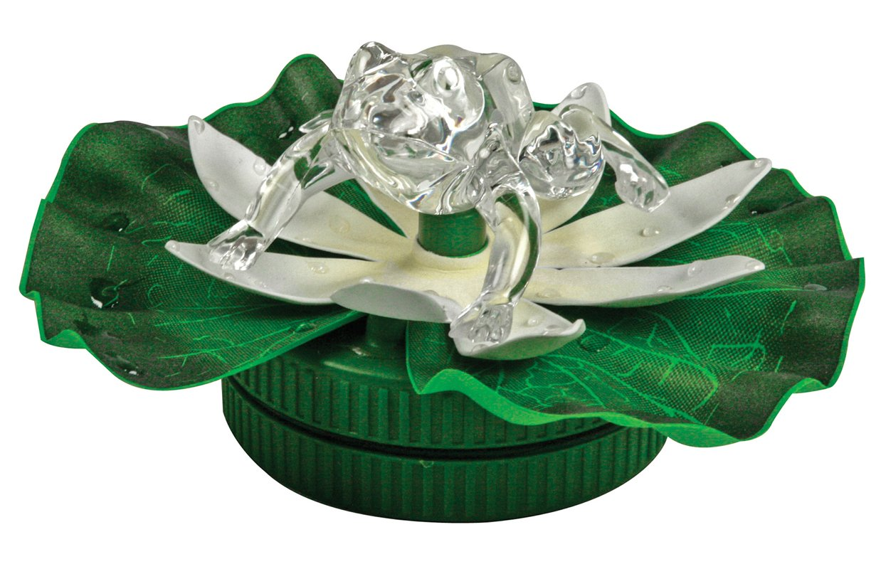 BANBERRY DESIGNS LED Frog in Pond LED Floating Lily Pad - Frog Color Changing - Waterproof