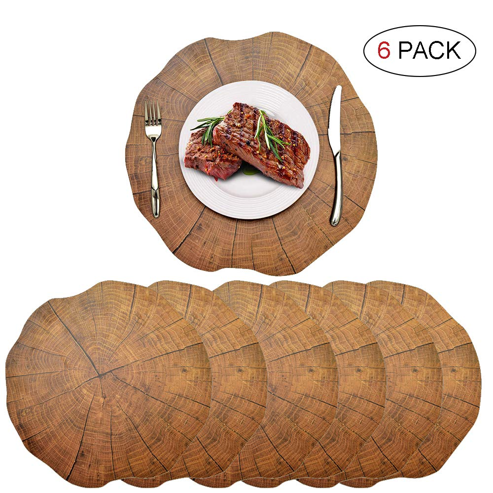6 PCS Round Brown Placemats - Plastic Thick Environmental Materials Multiple Styles Easy to Clean for Kitchen Dinner Party(Tree Pattern )