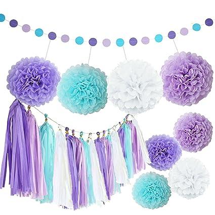 Amazon.com: Kubert White Purple Lavender Turquoise Tissue Paper Pom ...