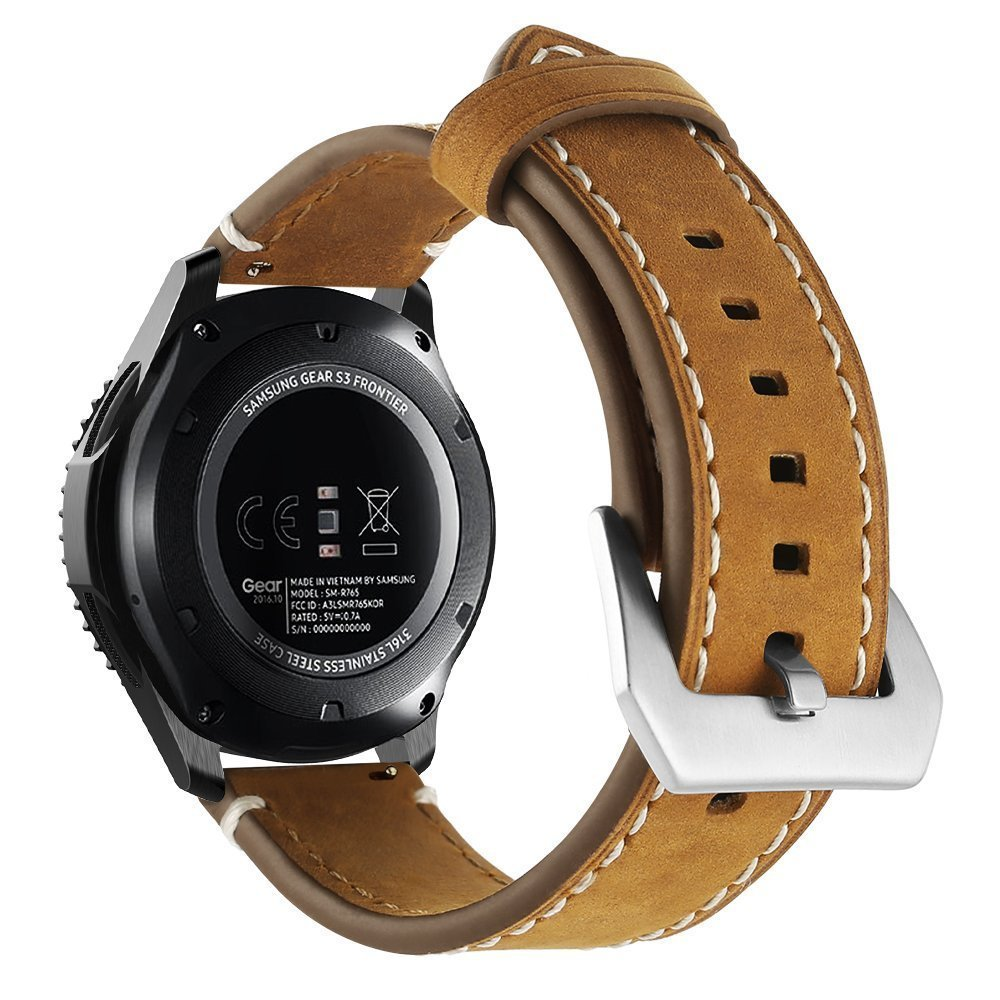 Genuine Leather Strap for the Samsung S3 Smart Watch, Soft Nubuk Leather Strap with silver metal buckle - Saddle Brown
