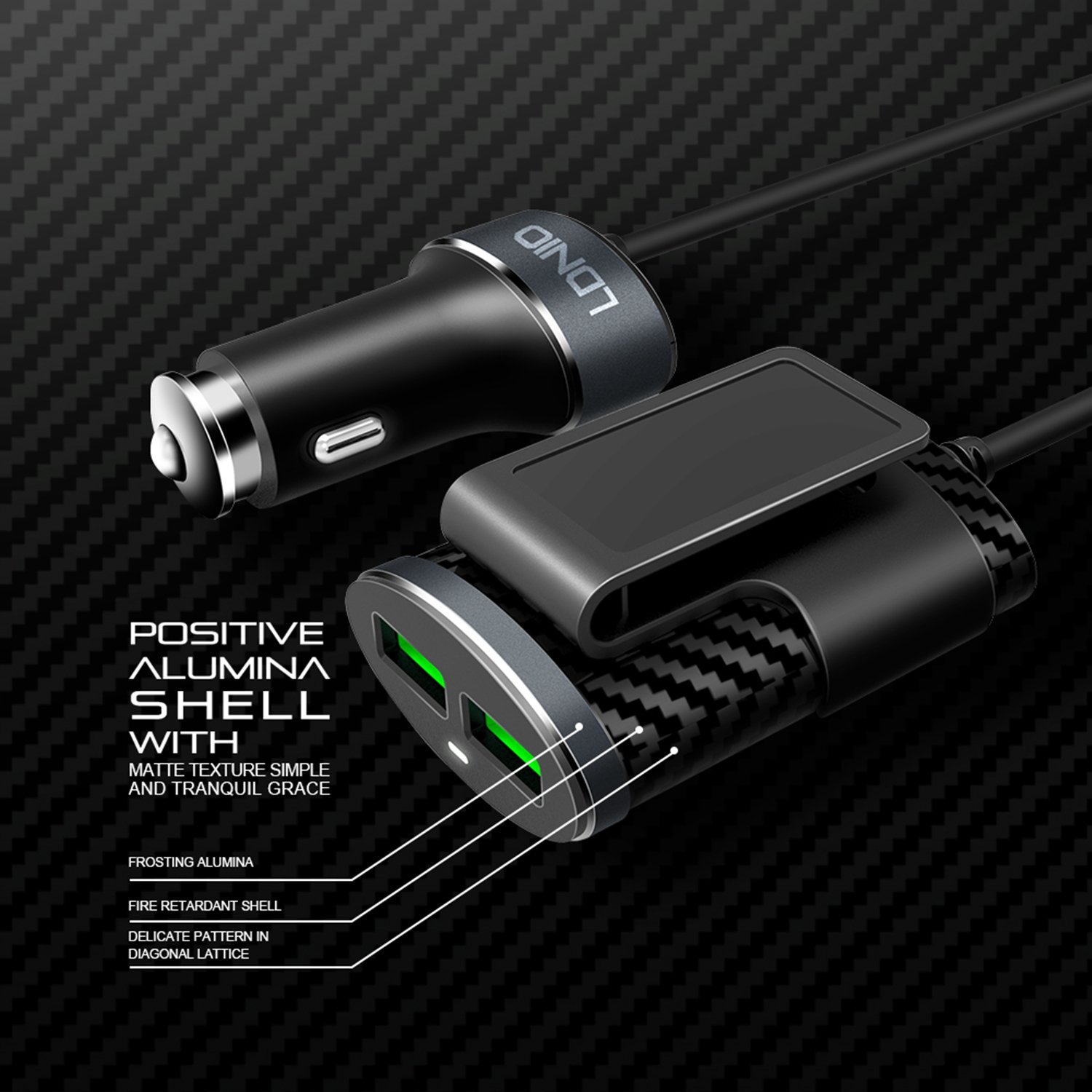 Black LDNIO 4351609343 Quick Charge 3.0 Car Charger 3 Auto-ID USB Design Adapter with Dual QC USB Ports for Sumsung Galaxy Note 8 S9 S8 Plus S7,iPhone X 8,Ipad Pro