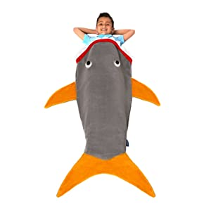 Blankie Tails The Original Shark Blanket for Kids from (Gray and Orange)