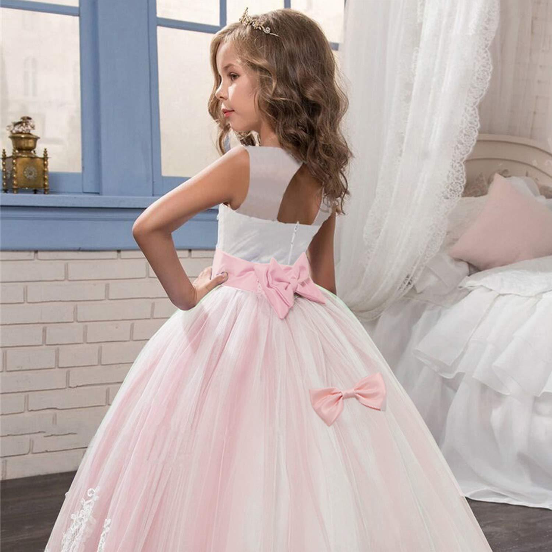 TTYAOVO Vestito da Principessa Bambina Ragazze Vestito Elegante Abiti da Sposa Tulle a Strati da Principessa