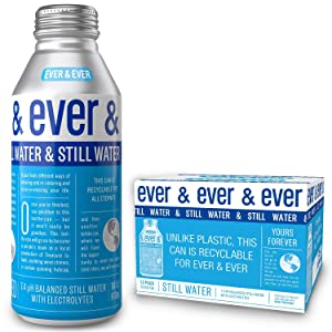 Still Water by [ Ever and Ever ] Aluminum Bottled | Reverse Osmosis Still Water | 7.4 pH Balanced with Electrolytes | RECYCLABLE FOR ALL ETERNITY | 16 oz Bottle-Cans (Pack of 12)