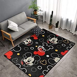 Mickey Mouse Carpet Area Mat Bedroom Camping Soft Mat Kids Boys Girl Blankets Kindergarten Home Room Comfortable and Durable Decor Rug Polyester 60 X 39 Inch