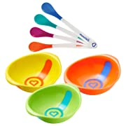 Munchkin 4-Pack White Hot Plastic Safety Spoons with 3 Pack White Hot Bowls