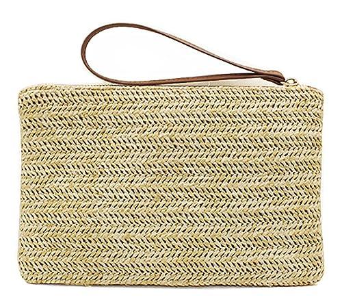8882a79819fd4 Hycurey Straw Zipper Clutch Bag Bohemian Wristlet Womens Summer Beach Sea  Purse and Handbag