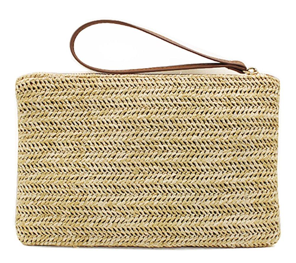 Hycurey Straw Zipper Clutch Bag Bohemian Wristlet Womens Summer Beach Sea Purse and Handbag Beige
