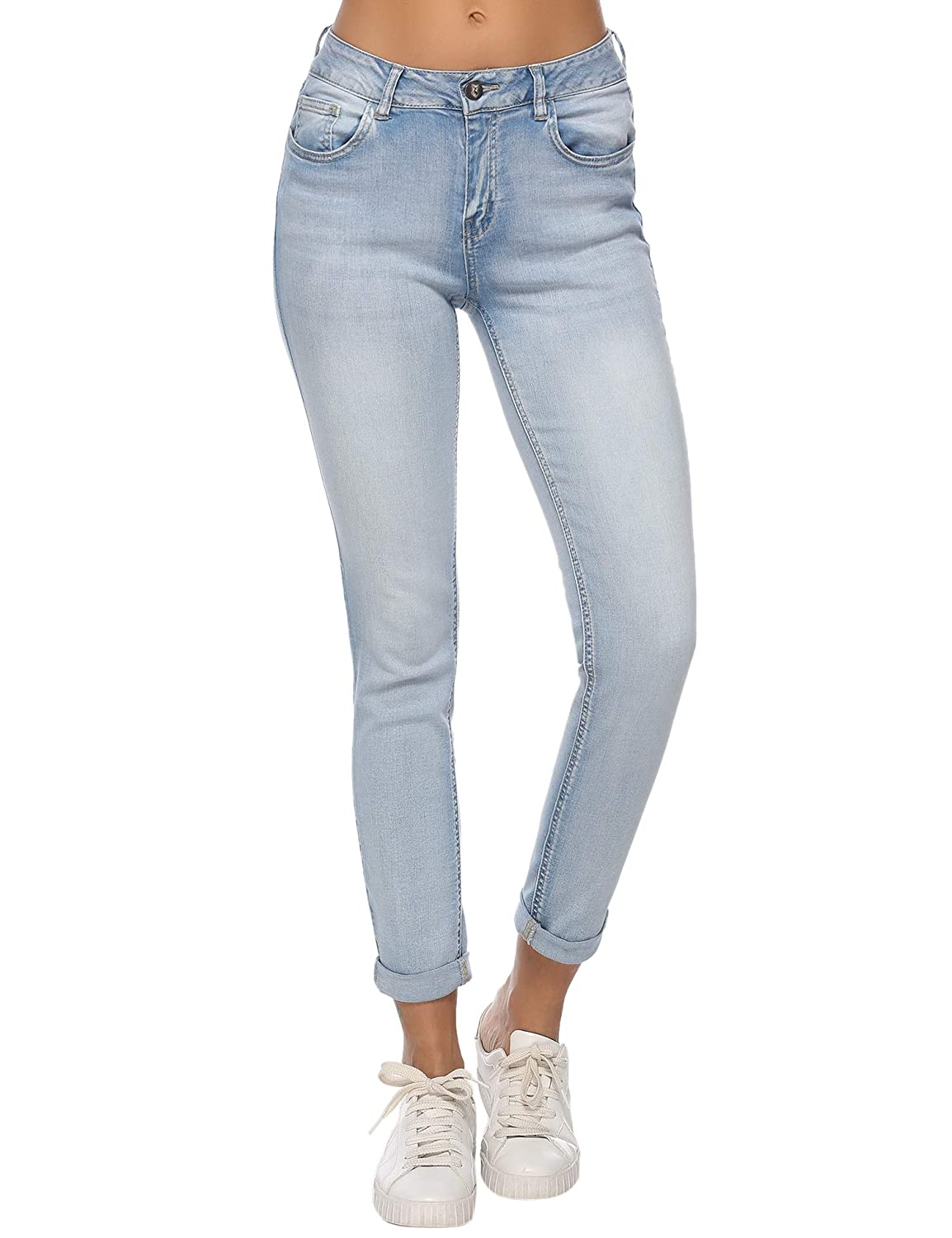 (Rs)amw7176lightwash Resfeber Women's Boyfriend Jeans Distressed Slim Fit Ripped Jeans Comfy Stretch Skinny Jeans