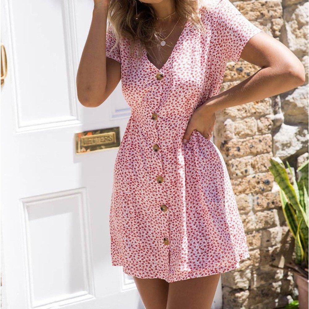 6744166a5d2d5 Amazon.com: GOVOW Spring Deals 2019 ! Sandy Beach Sexy Mini Dress for Women  V-Neck Printing Button Broken Flower Dress: Clothing