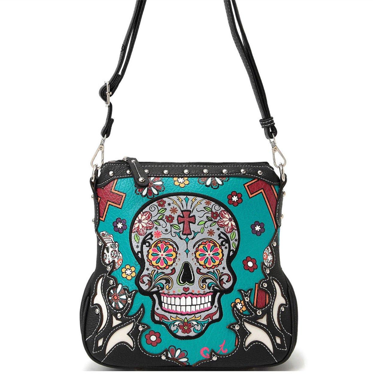 Western Sugar Skull Mini Handbag Girl Crossbody Purse Fashion Single Shoulder Bag Phone Purses (Turquoise) by WESTERN ORIGIN (Image #1)