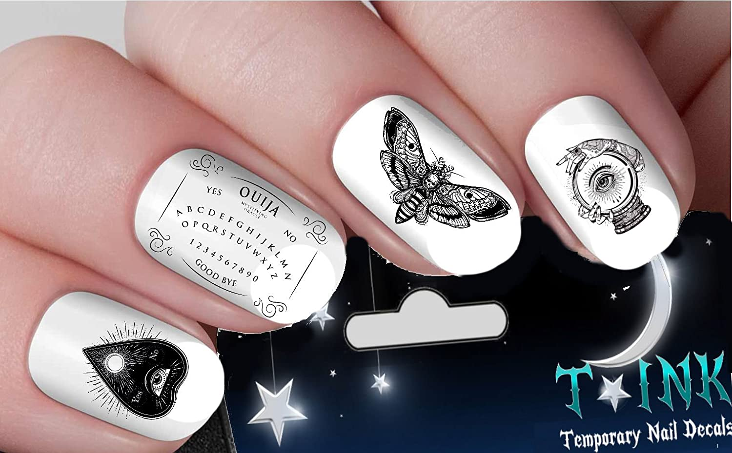 Halloween Nail Decals Occult ouija board gothic nail art design set ...
