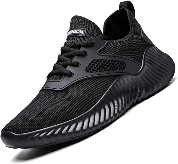 Kapsen Men's Walking Shoes Mesh Casual Athletic Shoes Minimalist Running Shoes Non-Slip Lightweight Breathable Tennis Fashion Sneakers (8, 1-Full Black)