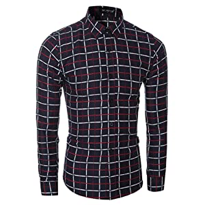 Pinklily Men's Simple Fashion Slim Fit Long Sleeve Casual Shirt