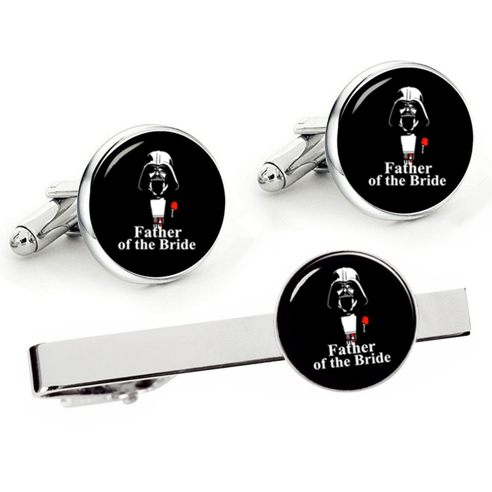 Kooer Father of The Bride Cufflinks Tie Clip Set for Star Style Custom Personalized Wedding Jewelry Gift (Father of The Bride Set)