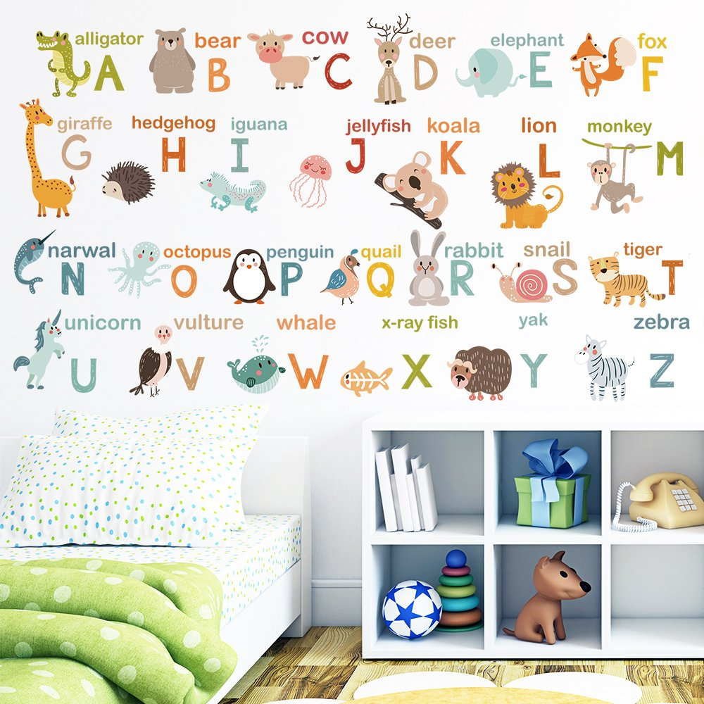 decalmile Alphabet ABC and Animals Wall Decals Classroom Kids Room Wall Decor Removable Wall Stickers for Kids Bedroom Nursery Baby Room by decalmile (Image #3)