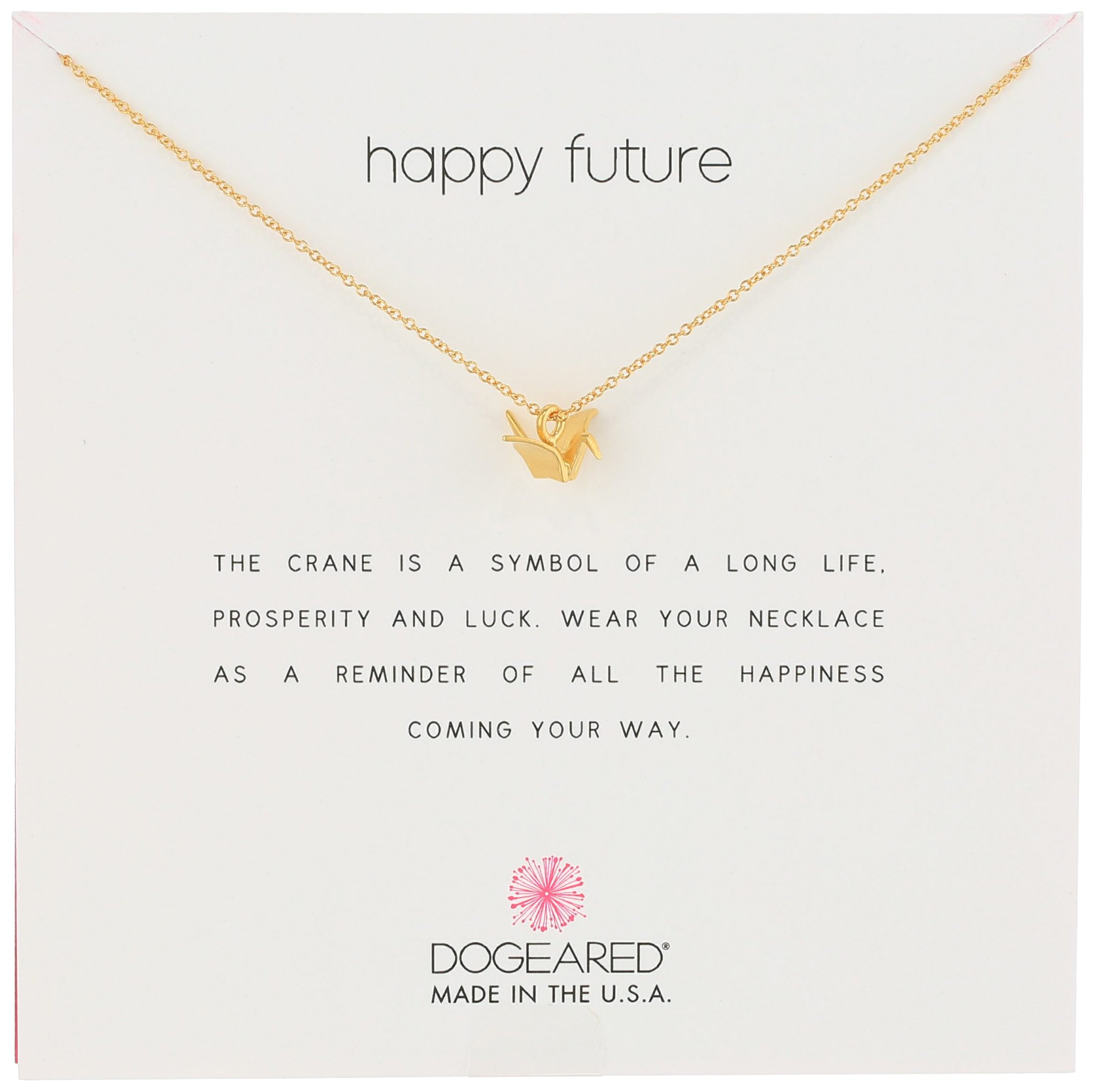 Dogeared Reminders- Happy Future' Gold Dipped Sterling Silver Oragami Crane Charm Necklace, 16''+2'' Extender