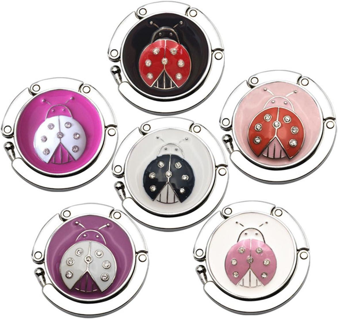 Reizteko Purse Hook,Ladybug Beeetle Foldable Handbag Purse Hanger Hook Holder for Tables (Pack of 6)